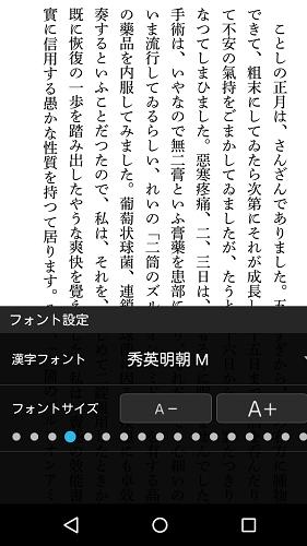 hontoビューアアプリの書式変更(秀英明朝M)
