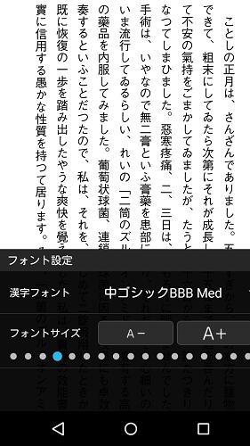 hontoビューアアプリの書式変更(中ゴシックBBB Med)